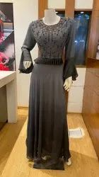 Pure Muslin Shaded Dye, Heavy Hand Embroidery on Yoke With Bell Sleeves and Frill, 58 length Gown