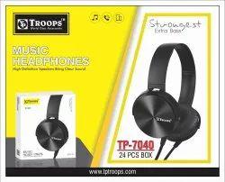 TP Troops Headphone Black 7040 (Box-20)  Earphone