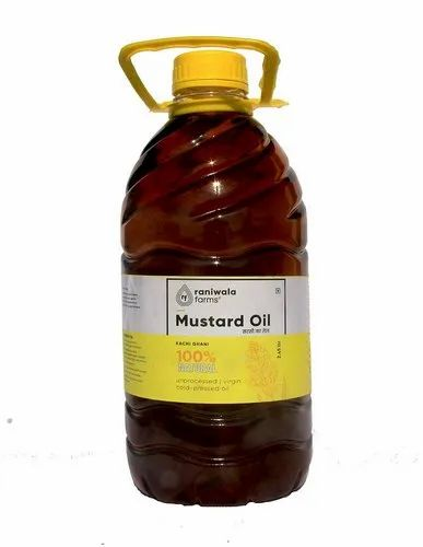 Raniwala Farms Yellow 2.5 Litre Cold Pressed Virgin Mustard Oil, Packaging Type: Plastic Bottle