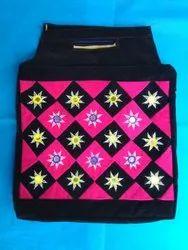 Black, Pink Cotton, Velvet Handicraft Pink Hand Bag, 250 Gm