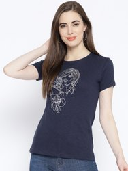 Harbornbay Women Navy Blue & Silver Printed Round Neck T- shirt