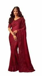 Party Wear Maroon Fancy Embroidered Georgette Saree, Without blouse piece, 6.5 Meter