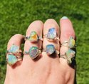 Raw Beautiful Natural Ethiopian Opal Stone Raw Rough Gemstone Ring