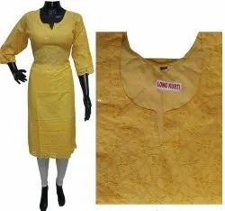 Cotton Formal Wear Punjabi Chikankari Long Kurti, Wash Care: Handwash