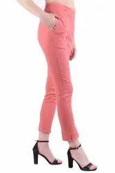 Plain Ladies Peach Cotton Pant