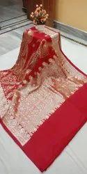 Zardozi Work Red Designer Bridal Saree, Dry clean, Saree Length: 6 m (with blouse piece)