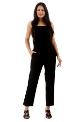 Black Ladies Cotton Straight Pant, Waist Size: 26-28-30-32-34
