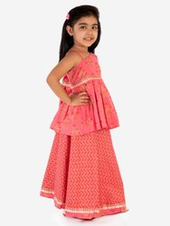 Party Wear Printed Kids Peach Lehenga Choli