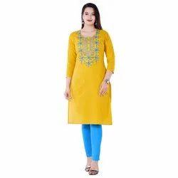Printed XL Ladies Yellow Cotton Kurti, Wash Care: Handwash