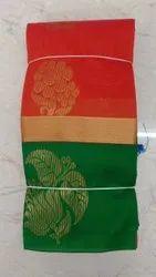 Red & Green Party Wear Silk Gota Work Designer Saree, 5.5 M