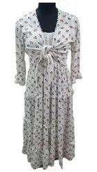 Casual Wear Women Ladies White Printed Dress