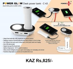 Power Glow Desk Power Bank Dual USB Ports