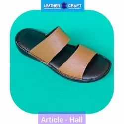 Casual Wear Brown Leather Slippers, Size: 6 To 10