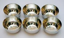 Silver Round Stainless Steel Bowl, Set Contains: 6 Pieces, Size: 9x9x5 Cm