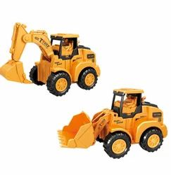 Construction Engineering Vehicles Push and Go Excavator & Bulldozer Toy for Kids