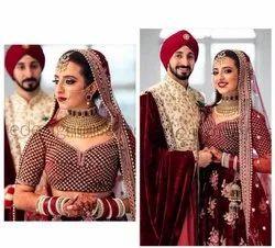 Present New Designer Bridal Velvet Lahenag Choli With Embroidery Work