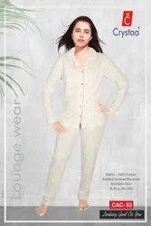 Crystaa White Women Night Wear, Size: S-Xl