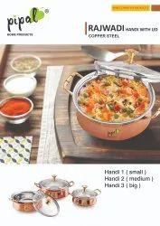 Round Rajwadi Copper Handi with Lid, For Home
