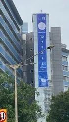 Multicolor Polyester Building Wraps Banner