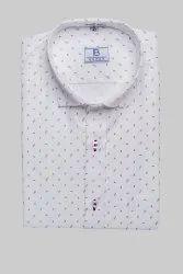 Boros Cotton Powder White Mens Formal Shirt, Machine wash