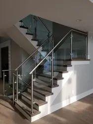 Aluminium Glass Stairs Railing, For Home