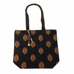 Loop Handle Open Black Jute Fancy Bag