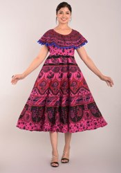 Hot dye print pumfum dress