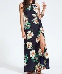 polyester Printed Surplus ladies slit Dress
