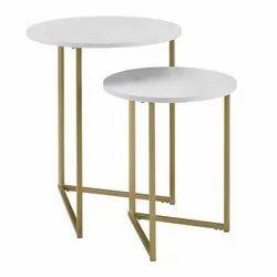 White Round VIAF-1024 Frame Nesting Tables for Home