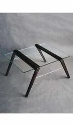 Transparent And Brown Glass Center Table