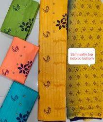 MK Satin Unstitched Floral Salwar Suit, Machine wash