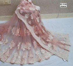 PRESENT HEAVY NET SAREE WITH HANDWORK EMBROIDERY