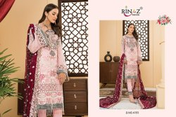 Rinaz Fashion Net and Santoon Ladies Party Wear Suit, Machine wash