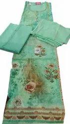 Unstitched Sea Green Digital Print Cotton Suits, Handwash