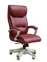 Leather Maroon Cushion Boss Chair