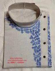 Party Embroidered Rijay Collection Cotton Embroidery White Kurta, Chinese, Size/Dimension: Large