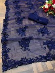 Present Heavy Net Saree With Emboidery Work With Stone Work Saree