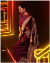 Presen Soft Lichi Silk Saree Beautiful Rich Pallu & Jacquard Work