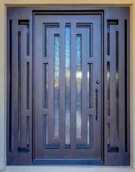 Black Iron Designer Metal Door, For Home, Thickness: 3 Mm