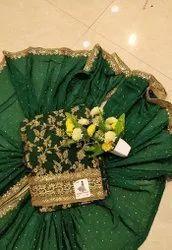 Arihant fashion Chanderi Latest Designer Green Color Banarasi Silk Un-Stitched Suit