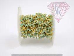 Amazonite Gemstone Beaded Rosary Thick Chain