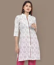 Ladies Straight Cotton Printed Kurti