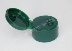 Plastic Green Flip Top Screw Cap, For Hair Oil Bottle