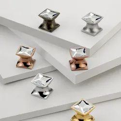 Brass Square Swarovski Crystal Knob