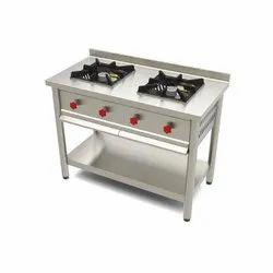 2 SS Two Burner Cooking Range, For Restaurant