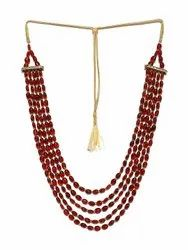 Men Maroon & Gold-toned Layered Necklace, Festivals, Jewellery Type: Men's Jewellery