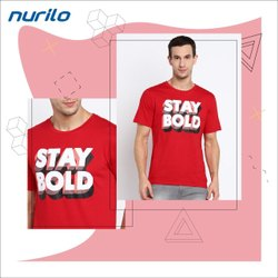 Round Printed Men Red Half Sleeve T- Shirt, Size: Large