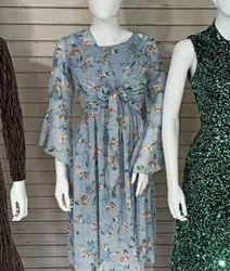 Women Designer Printed Chiffon Gown