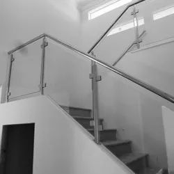 Metallic Gray Tempered Glass Stainless Steel Staircase Railing