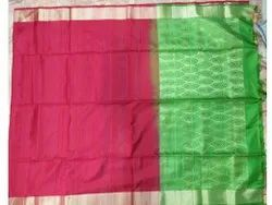 Pink, Green Party Wear Dubion Self Body Plain Silk Saree, Without blouse piece, 6.3 (With Blouse Piece)